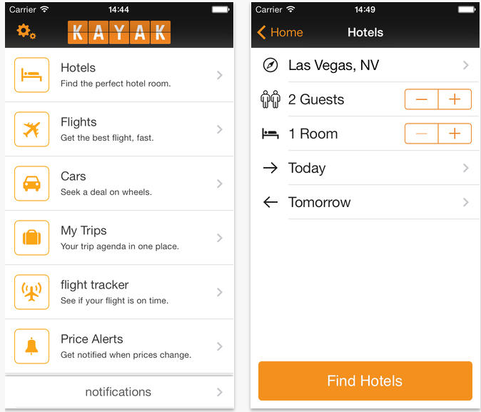 the best Apps to find Cheap Flights - Kayak