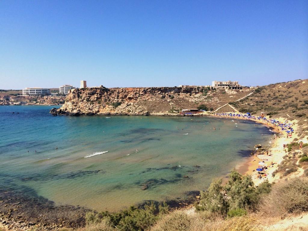 Malta by public transport bus route itinerary malta holiday guide- Ghajn Tuffieha Bay