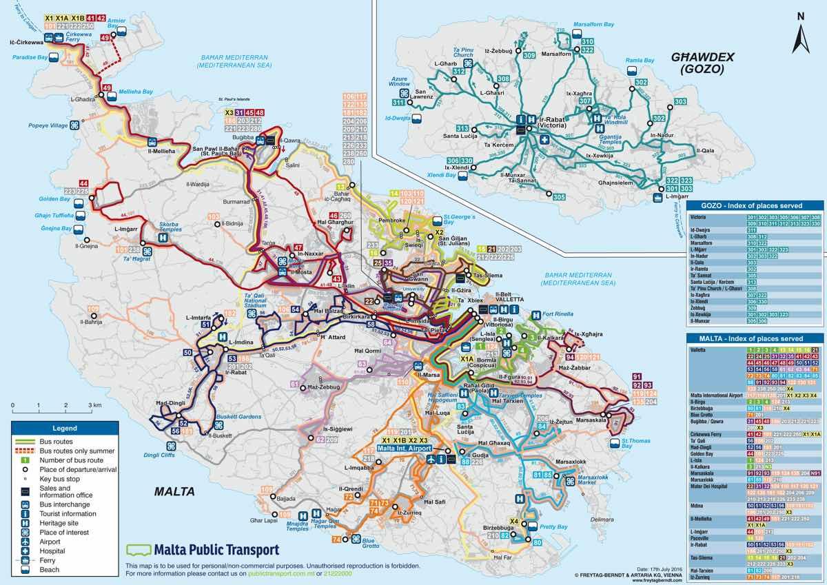 malta by public transport bus route map