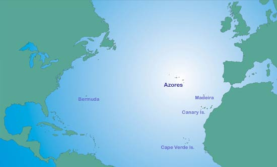 next big travel destination - Azores map, where are the Azores