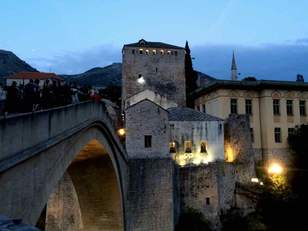 Day trip to Mostar Bosnia - Stari Most Dusk