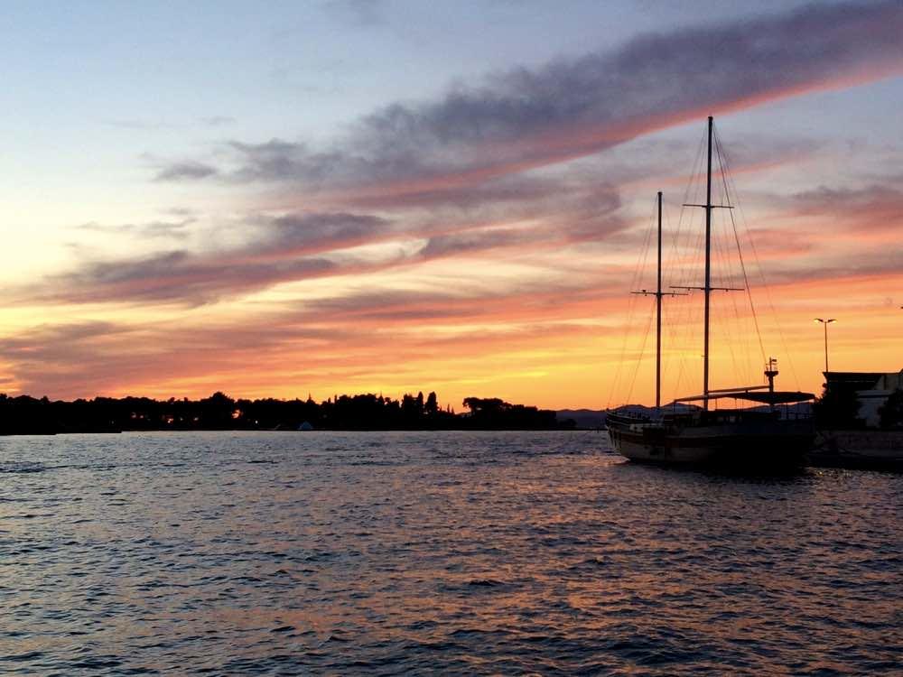 the island of Brac and Zlatni Rat beach - Supetar sunset