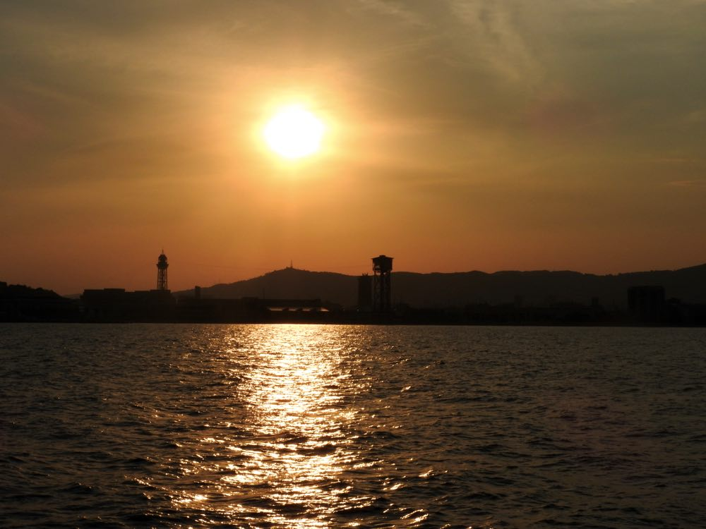 boat trip sunset barcelona summer