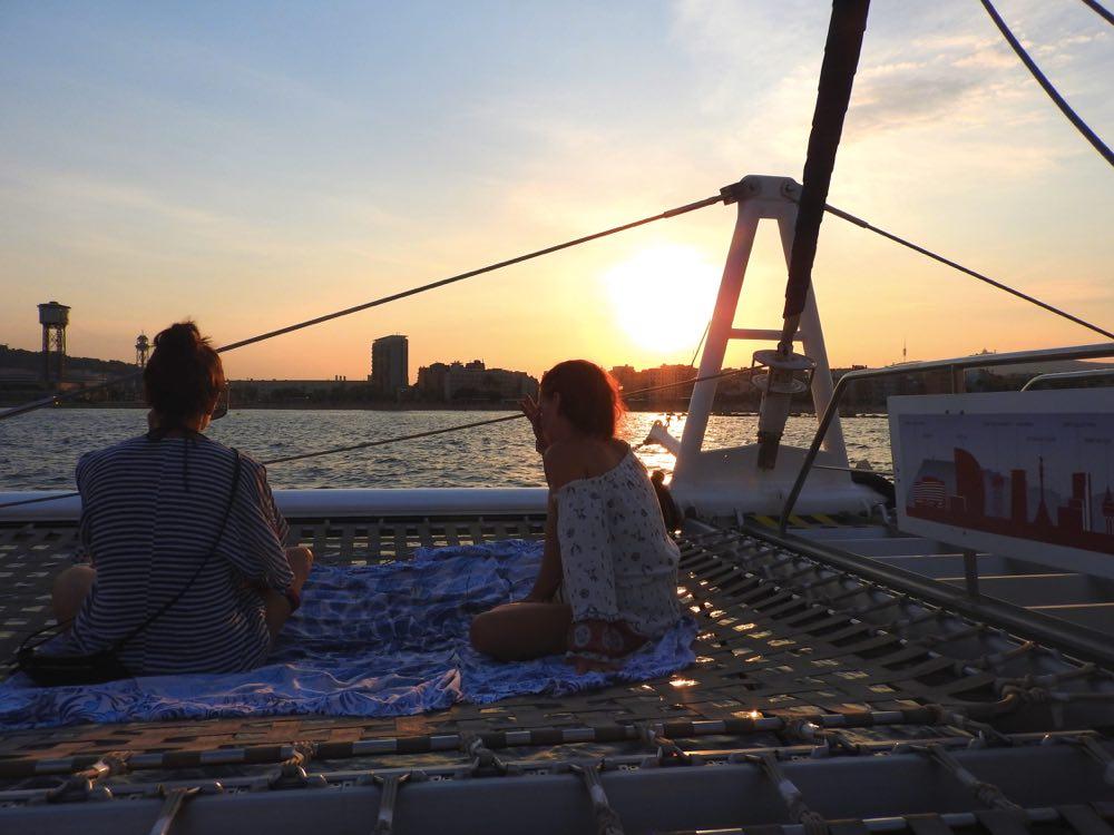 sunset boat trip barcelona sailing cityline