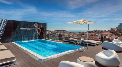 best beaches in Lisbon where to stay - Hotel HF Fenix Music best hotel lisbon swimming pool rooftop