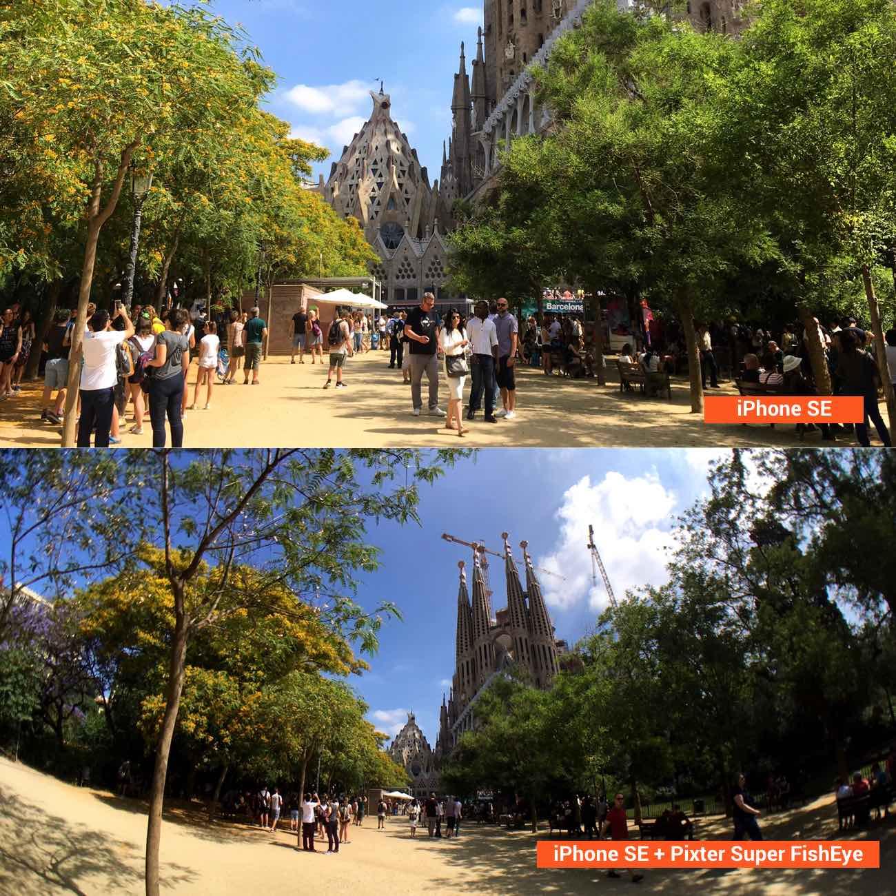 attachable smartphone camera fisheye lens comparison normal photo