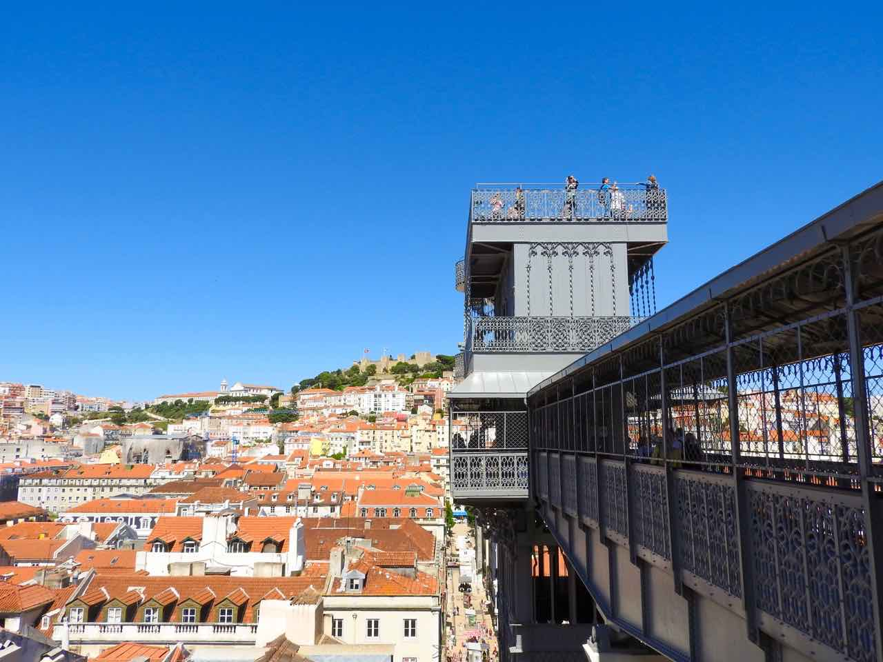 lisbon travel blog guide baixa district santa justa view