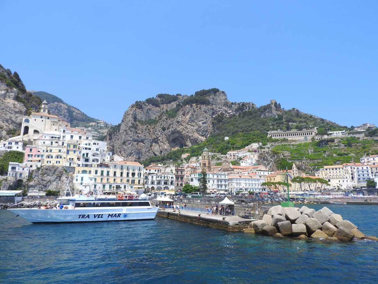 how to plan naples italy amalfi coast day trip - amalfi town from the sea