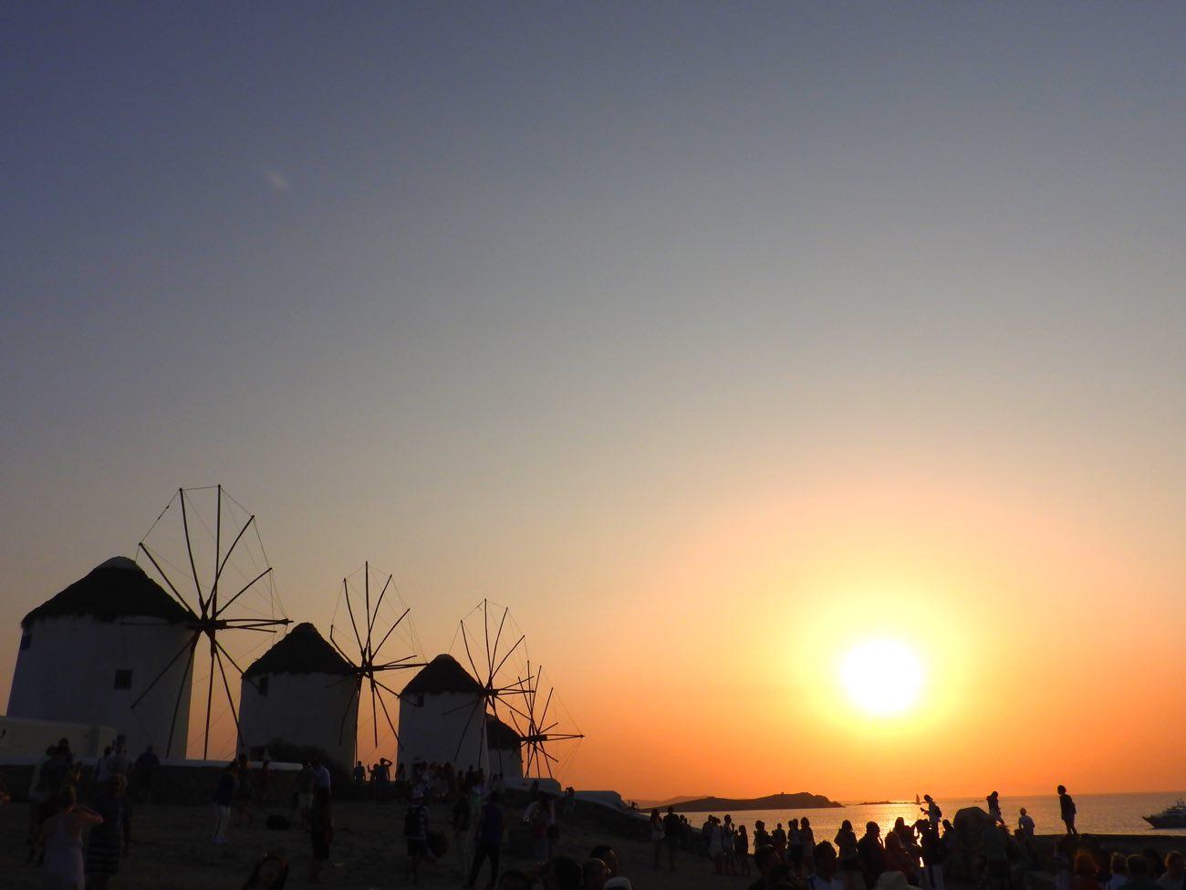 greece itinerary mykonos windmills sunset