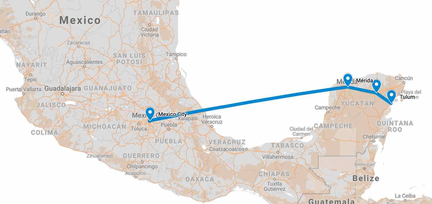 mexico itinerary route map